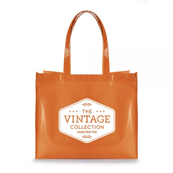Glossy laminated 80gsm non-woven PP shopper with handles and gusset with baseboard.