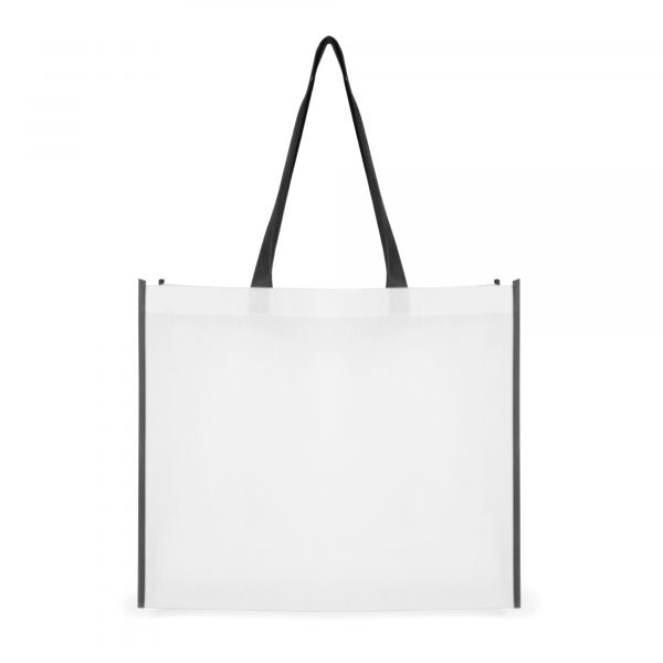 80gsm non-woven PP landscape shopper with long handles to match the edge trimming. Available in white with red, blue and black trim