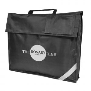 420D polyester school bag with reflective strip and main Velcro close compartment with 2 small black flap pouches. Velcro flap on front of bag reveals a plastic window.