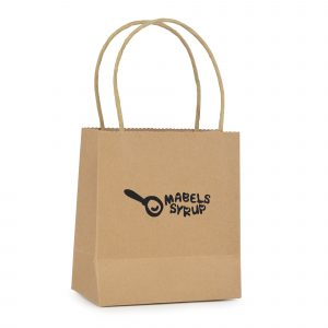 Small natural recyclable paper bag with paper twist handle. Paper weight 230gsm.