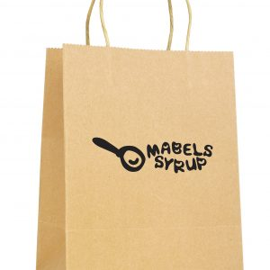 Medium natural recyclable paper bag with paper twist handle. Paper weight 230gsm.