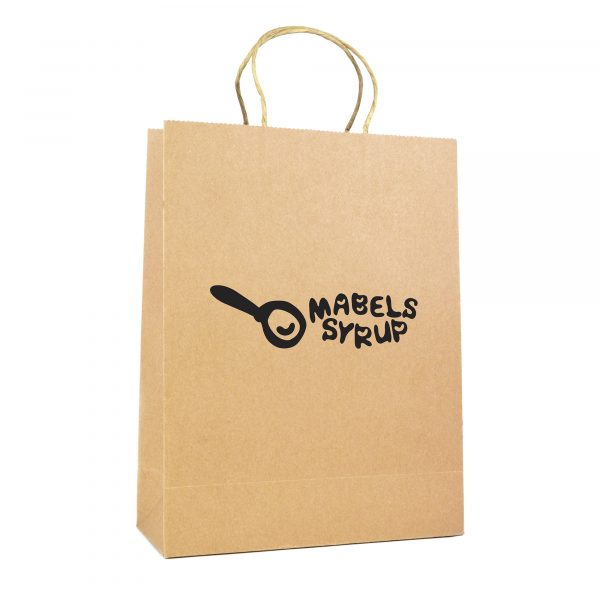 Large natural recyclable paper bag with paper twist handle. Paper weight 230gsm.