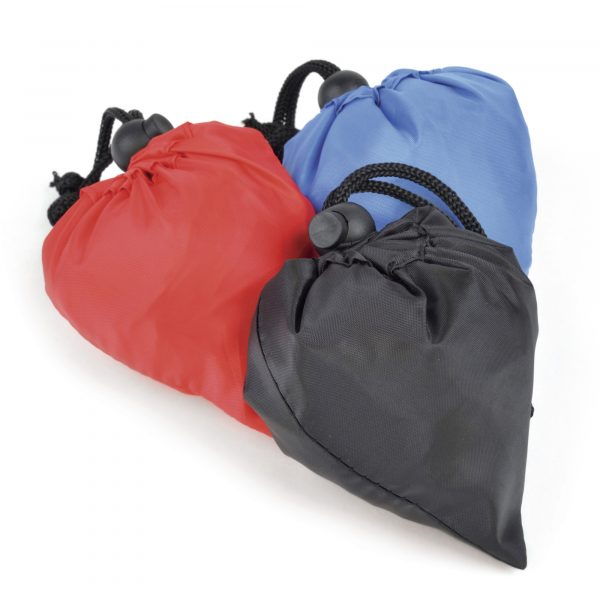 210D polyester large shopper which conveniently folds into a pouch in the corner of the bag and seals with a pull string.