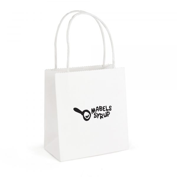 Small white recyclable, compact paper bag with twist paper handle. Paper weight 210gsm.