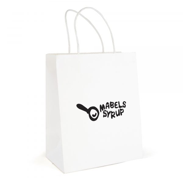 Medium white recyclable paper bag with twist paper handles. Paper weight 210gsm.