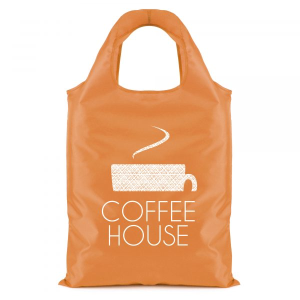210D polyester shopper bag which conveniently folds into the interior pouch of the bag and seals with a zip.