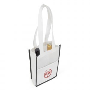 100gsm non woven PP bottle bag with inside dividers to hold two bottles and a front pocket.