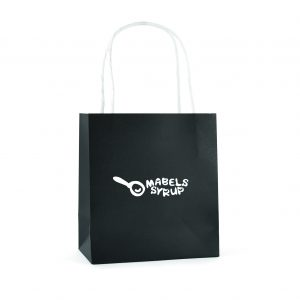 Small paper bag with twist paper handles and gusset.