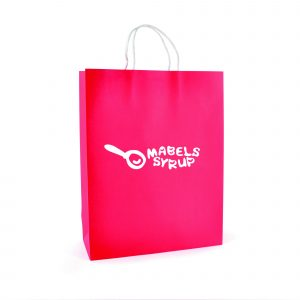 Large paper bag with twist paper handles and gusset.