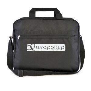 600D polyester document bag with zipped main compartment and zipped front pocket. Features include carry handle and adjustable shoulder strap. Available in black with blue front or all black.
