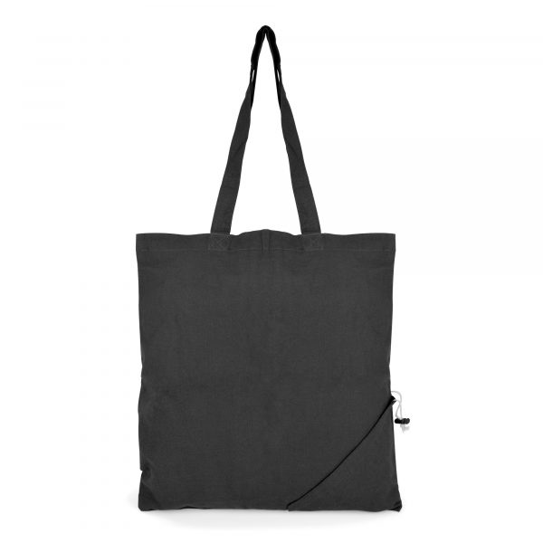 Coloured 4oz cotton shopper which conveniently folds into pouch in the corner of the bag and seals with a pull string. Available in black, royal blue and red