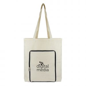8oz cotton shopper with long handles and coloured zip front pocket that conveniently folds down into a zip closure pouch. Available in blue, black and red.