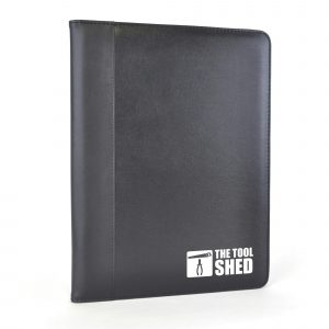 A4 PU folder with edge trim. Includes document holder, business card holder, elasticated pen loop and 25 sheet notepad.