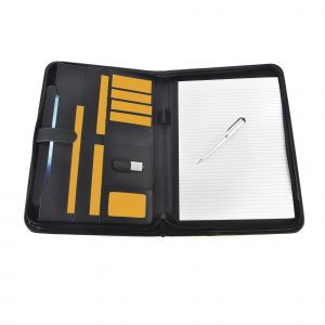 Oversized A4 zipped PU folder with edge trim. Includes tablet holder, document holder, business card holder, elasticated pen loop, elasticated flash drive holder and 25 sheet notepad.