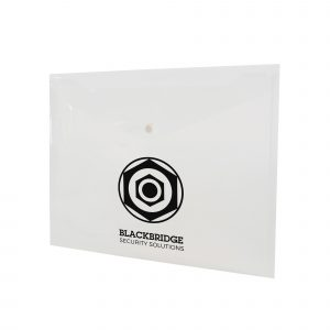 Translucent coloured PP plastic document folder with white press stud closure on the flap. Available in 4 colours.