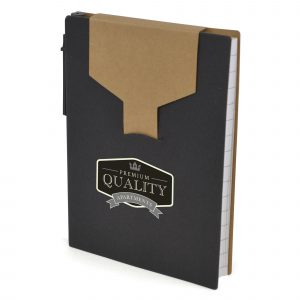 A6 recycled notebook with 80 lined sheets, natural top flap, pen with blue ink, yellow sticky notes and flags in neon orange, pink, yellow and blue.