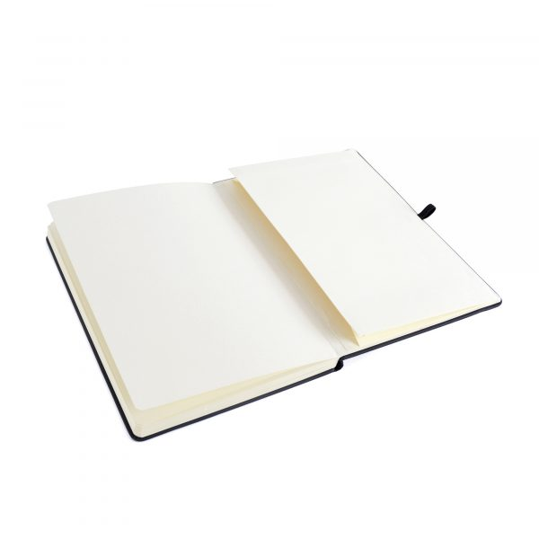 A5 black PU soft finish notebook with 80 plain sheets, coloured elastic closure, pen loop and bookmark. Back pocket to store loose notes. Available in black.