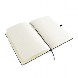 A5 black PU soft finish notebook with 80 graph sheets, coloured elastic closure, pen loop and bookmark. Back pocket to store loose notes. Available in black.
