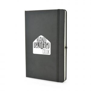 A5 PU soft finish diary with 80 lined sheets, 2 days per page from January to December with no year included, bookmark, back card pocket, pen loop and elastic closure. Available in black.