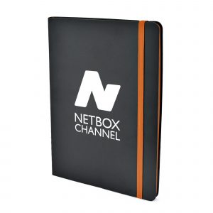 A5 PU soft finish 80 sheet notebook with coloured page edges, zig zag stitched spine, bookmark and elastic closure. Available in 5 colours