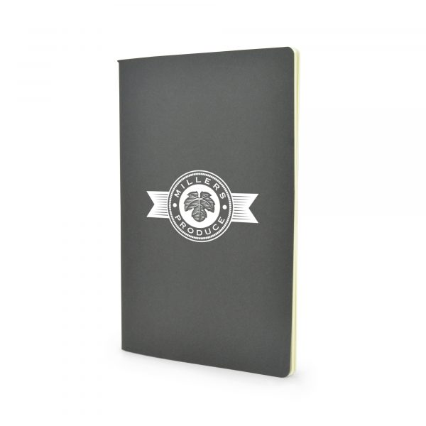 A5 recycled cardboard cover notebook with 40 recycled lined cream sheets. Available in black and natural.