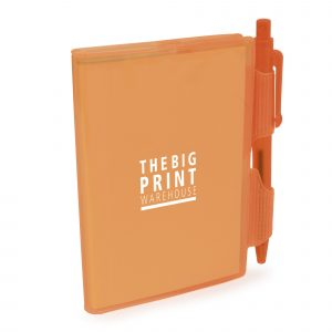 A7 PVC notepad with 80 sheets of lined white paper and a push action pen (black ink). Available in 4 colours.