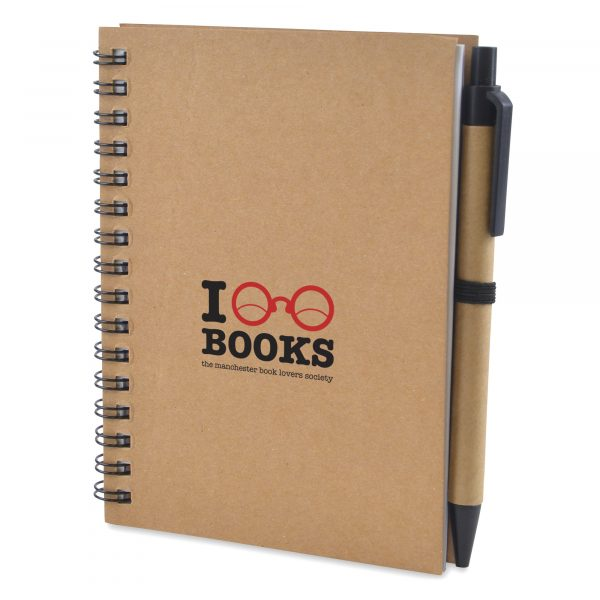 A6 recycled wiro bound notebook with 60 lined sheets and pen. Black ink.