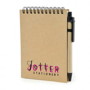 A6 Recycled wiro bound flip over jotter with 60 lined sheets and pen. Black ink.