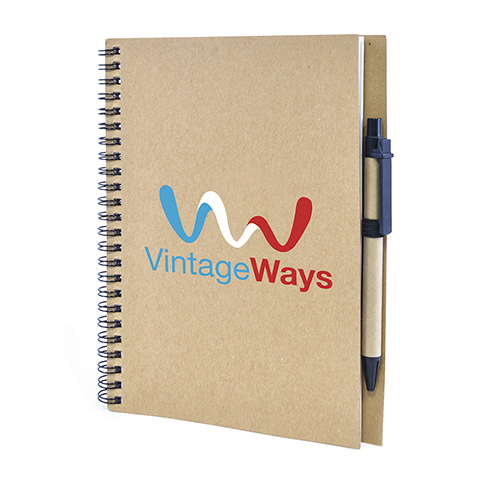 A5 Recycled wiro bound notepad with pen. Available in 8 colours