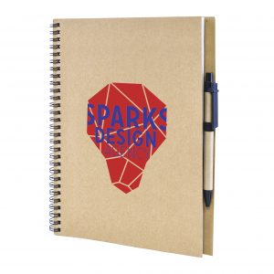A4 Recycled wiro bound notepad with 60 lined sheets and pen.