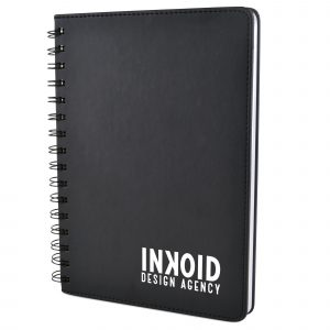 A5 spiral bound notebook with PU soft finish and 80 white lined sheets.