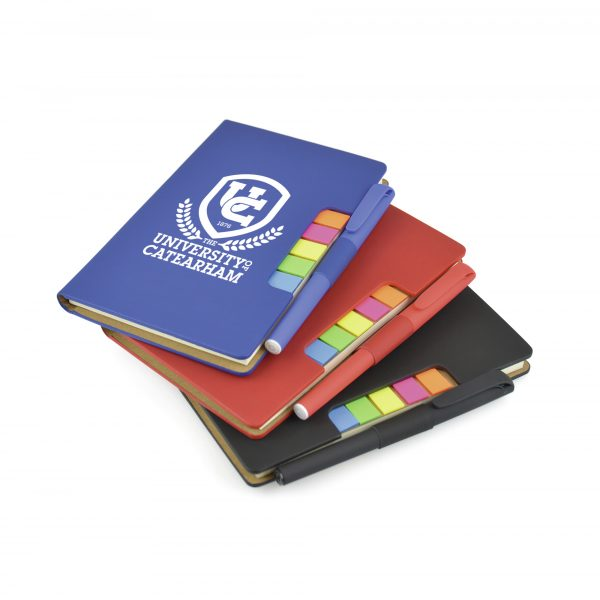 Oversized A6 PU soft finish 70 sheet lined notebook with coloured flags and pen included. Includes 5 coloured flags and coloured pen loop with black ink rollerball pen. Available in black, blue and red.