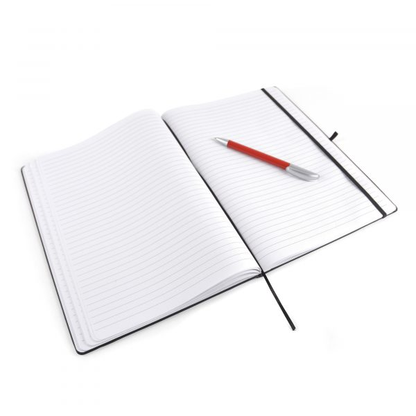 A4 PU soft finish notebook with 80 lined sheets, elastic closure, pen loop and bookmark. Available in 7 colours.