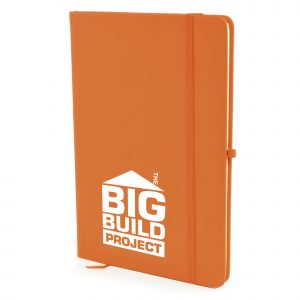 A5 PU soft finish notebook with 80 lined sheets, elastic closure, back pocket, pen loop and bookmark. Available in 22 colours.