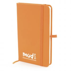 A6 soft finish notebook with 80 lined sheets, elastic closure back pocket and bookmark and pen loop. Available in 13 colours.