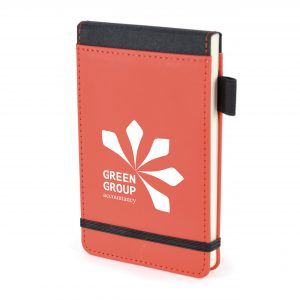 PU soft finish jotter with lined pages, black trim, pen loop and elastic closure