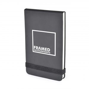 PU soft finish jotter with 80 lined sheets and coloured elastic close. Available in 3 colours.