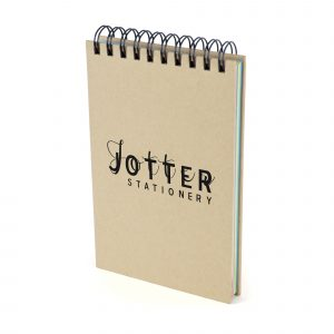 Natural card spiral bound jotter with 84 sheets of 70gsm plain coloured paper in 7 colours.