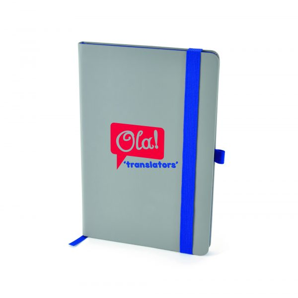 Grey PU soft finish notebook containing 96 sheets of cream lined paper with coloured edge trim, bookmark, pen loop and elastic closure. Available in 3 colours.