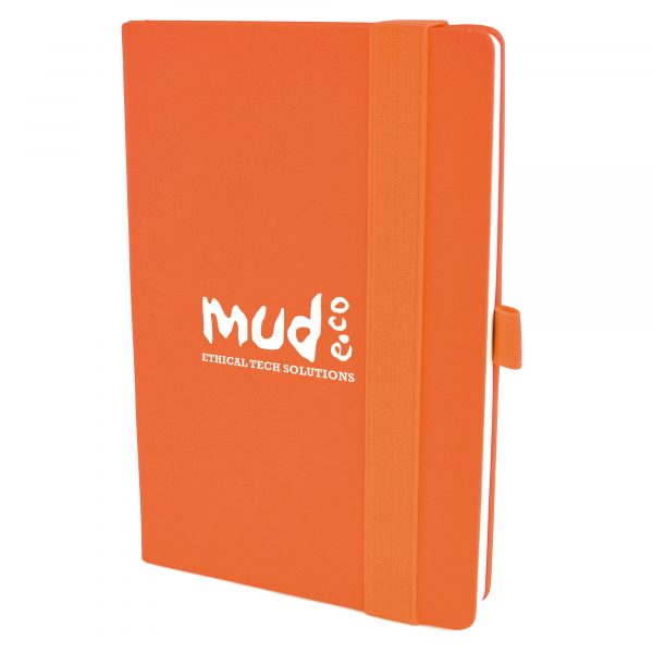 A5 PU soft finish 160 sheet lined notepad with bookmark, back pocket, pen loop and elasticated close.