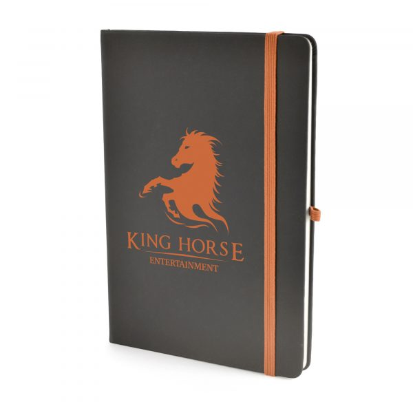 A5 black PU soft finish notebook with 80 sheets, coloured elastic closure, pen loop and bookmark. Back pocket to store loose notes. Available in 10 colours.
