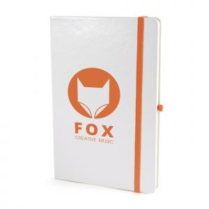 A5 White PU soft finish notebook with 80 sheets, coloured elastic closure, pen loop and bookmark. Back pocket to store loose notes. Available in 11 colours.