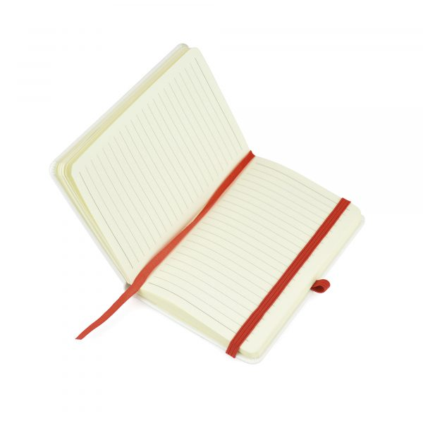 A6 white PU soft finish 80 sheet lined notebook with coloured bookmark, back pocket for securing loose notes, coloured elastic pen loop and coloured elastic closure. Available in 6 colours.