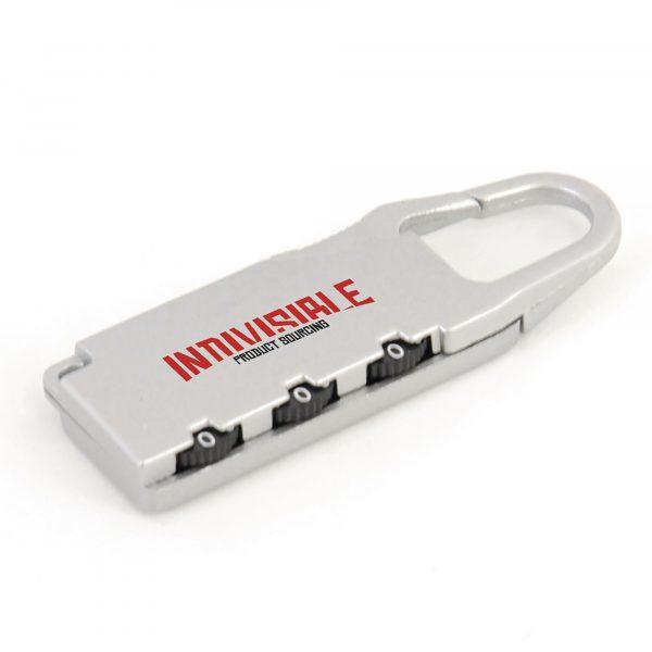 Metal three number combination luggage padlock.
