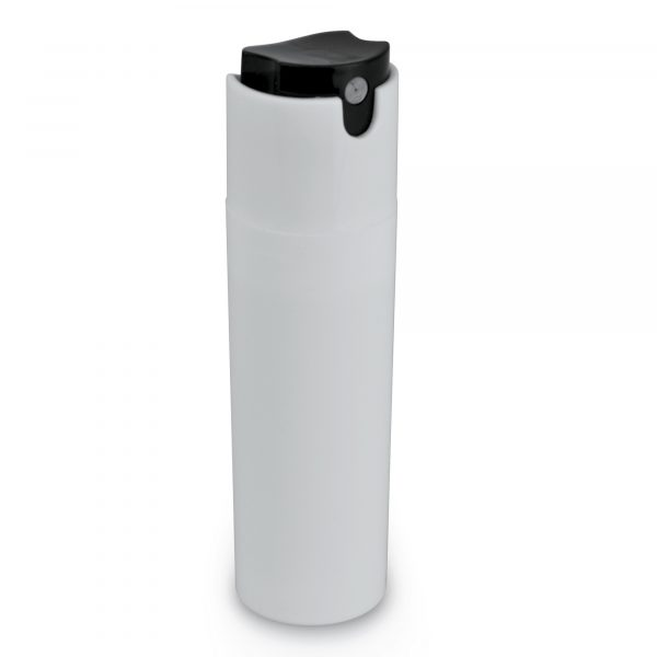 30ml pocket-sized plastic cylindrical hand sanitiser spray with push button action, ideal for the healthcare industry. Available in white with black button