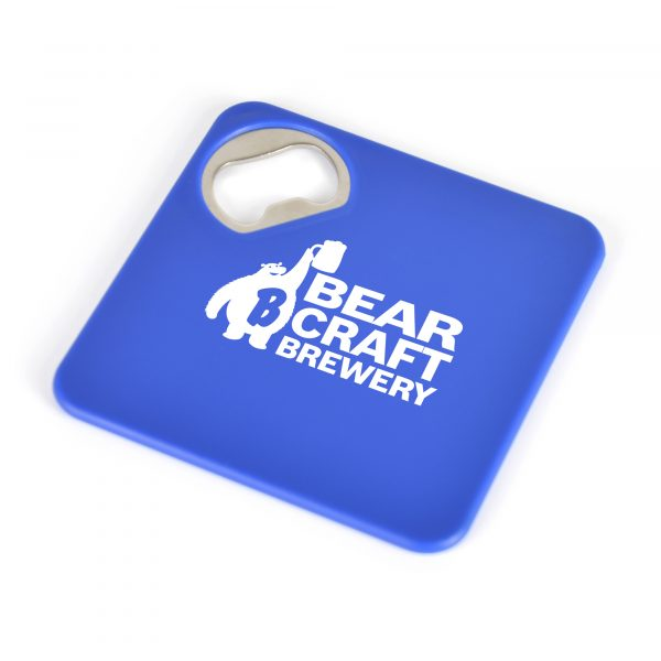 Square plastic coaster with a built-in bottle opener in one corner and a foam grip backing.