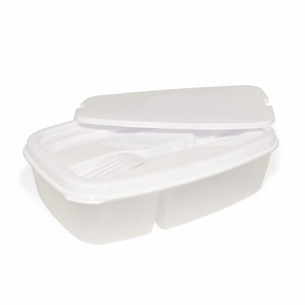 Lunch box and cutlery set. The main section of the lunch box is divided into two. The lid conceals a plastic knife and fork.
