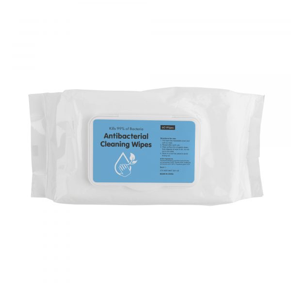 60 piece non woven material anti bacterial wipes (size of wipes 15x20cm). Kills 99% of bacteria, in a re-sealable plastic case. Test conformance confirming they effectively kill - Streptococcus Hemolyticus, Streptococcus Aureus, Pseudomonas Aeruginosa, Coliforms