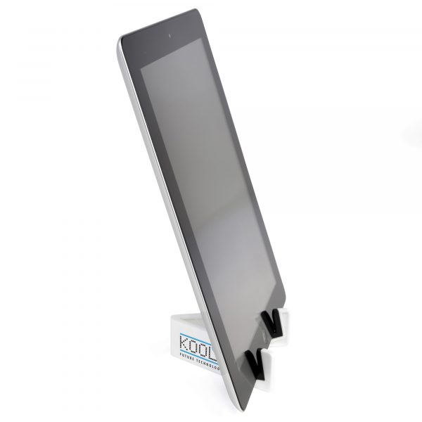 White plastic stand for a computer tablet. Simply extend the 2 arms into a V shape and slot the tablet into the black rubber padded slots.