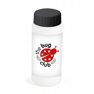 60ml white soap bubble bottle with 3-in-1 bubble wand. Available in white with black lid.